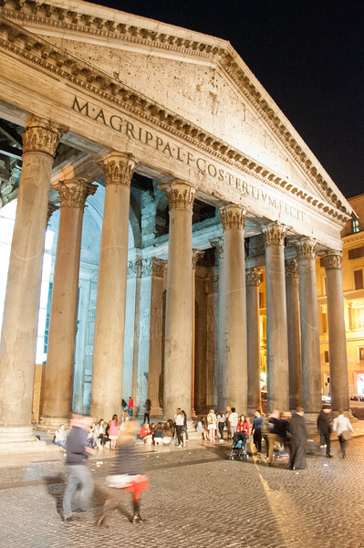 Pantheon at night. Amazing that these columns were imported from Egypt.