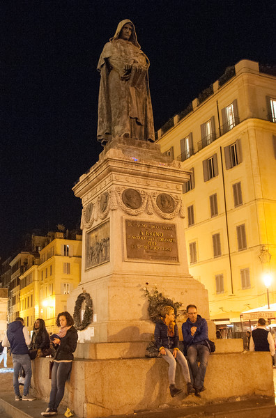 Statue of Bruno in Campo di Fiori. He was burned alive at this spot.