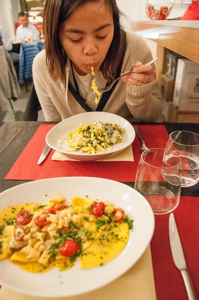 Pasta! Fettuccini and Ravioli.
