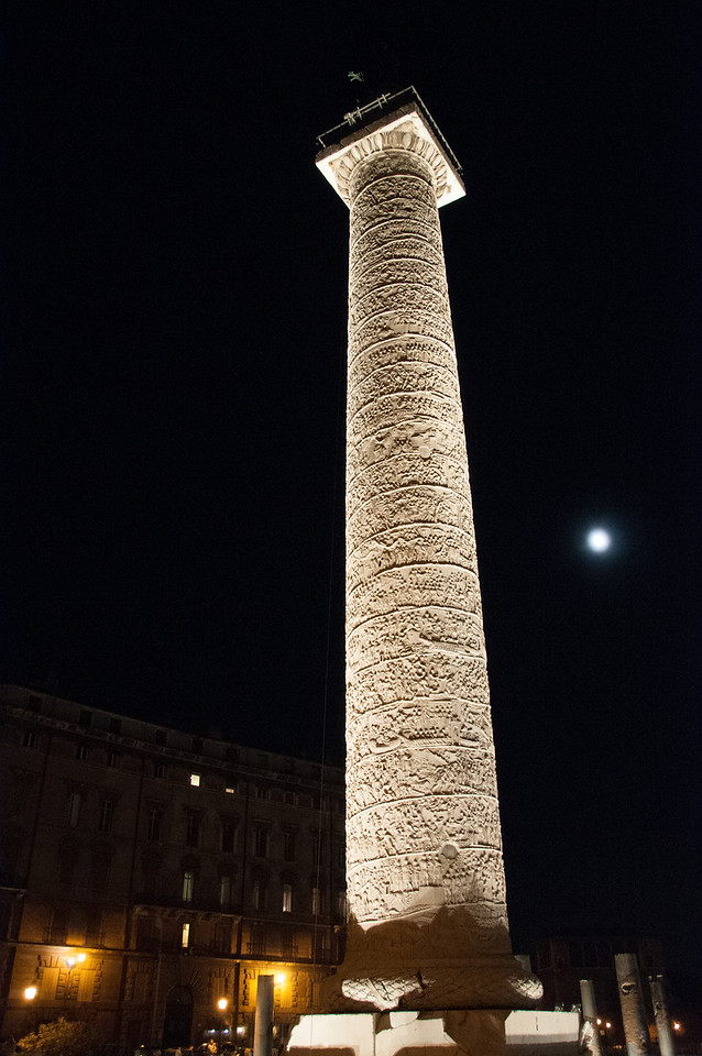 Trajan's column. 140 ft. tall. Stories are told scrolling around the tower - if unrolled would be 200 yards.