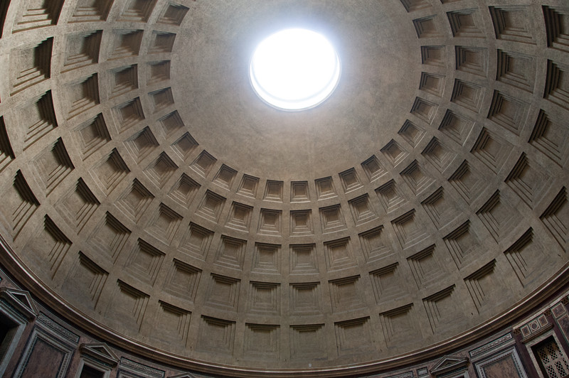 Looking up at the Occulus in the Pantheon. Amazing. Almost two thousand years after it was built, the Pantheon's dome is still the world's largest unreinforced concrete dome.