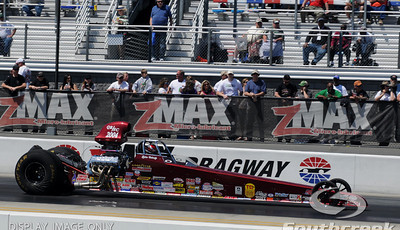Tyler Caheely races his top alcohol dragster during the VisitMyrtleBeach.com NHRA Four-Wide Nationals Finals at zMax Dragway, Concord, NC.