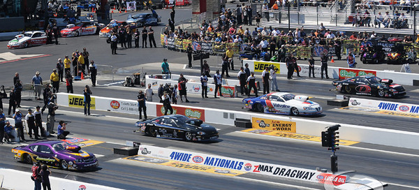 The pro stock cars go green during a semi-final race during the VisitMyrtleBeach.com NHRA Four-Wide Nationals Finals at zMax Dragway, Concord, NC.