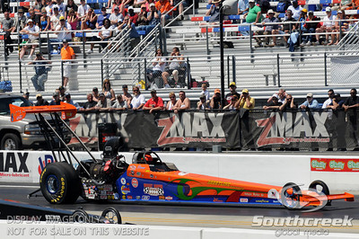 Duane Shields races his top alcohol dragster during the VisitMyrtleBeach.com NHRA Four-Wide Nationals Finals at zMax Dragway, Concord, NC.