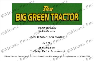 The Big Green Tractor back