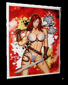 "April Hunter Autographed ""Red Sonja"" Scott Blair Art Pin-Up Print"