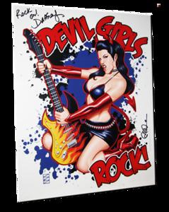 "Daffney Autographed ""Devil Girls Rock!"" Scott Blair Art Pin-Up Print"