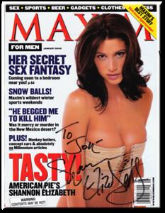 Shannon Elizabeth Autographed January 2000 MAXIM Magazine