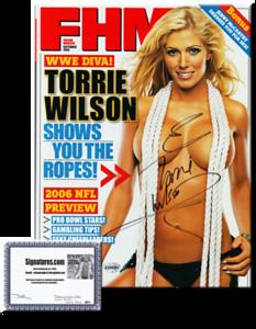 Torrie Wilson Autographed September 2006 FHM Magazine - COA
