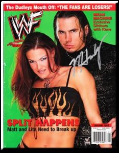 Lita & Matt Hardy Autographed January 2002 WWF Magazine