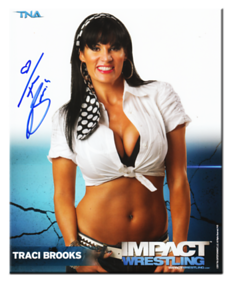 Traci Brooks Autographed P-81A TNA IMPACT WRESTLING Promo Photo