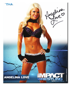 Angelina Love Autographed P-7B TNA IMPACT WRESTLING Promo Photo