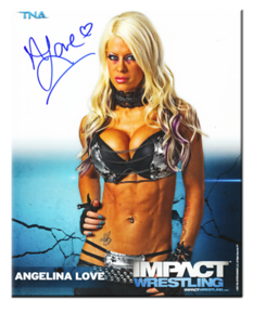 Angelina Love Autographed P-7A TNA IMPACT WRESTLING Promo Photo