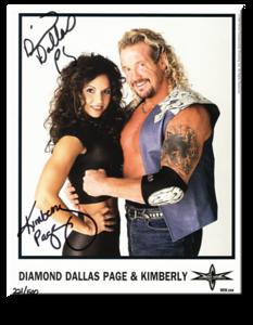Kimberly & Diamond Dallas Page Autographed Color 1999 WCW Promo Photo