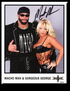 Macho Man & Gorgeous George Autographed Color 1999 WCW Promo Photo