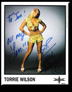 Torrie Wilson Autographed Color 1999 WCW Promo Photo
