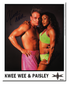 Kwee Wee & Paisley Autographed Color 2000 WCW Promo Photo
