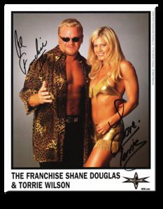The Franchise Shane Douglas & Torrie Wilson Autographed Color 2000 WCW Promo Photo