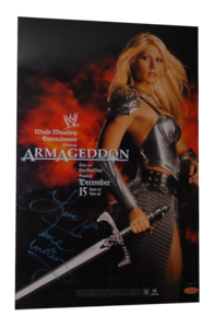 Torrie Wilson Autographed WWE Armageddon 2002 PPV Poster