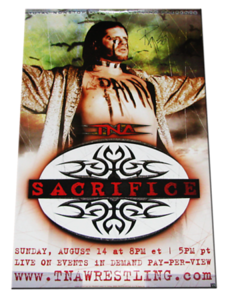 Raven Autographed TNA Sacrifice 2005 PPV Poster
