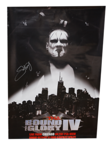 Sting Autographed TNA Bound For Glory 2008 PPV Poster