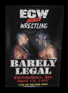 Taz & Sabu Autographed ECW Barely Legal 1997 PPV Poster