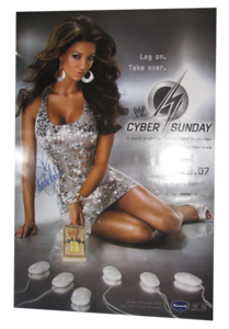 Candice Michelle Autographed WWE Cyber Sunday 2007 PPV Poster