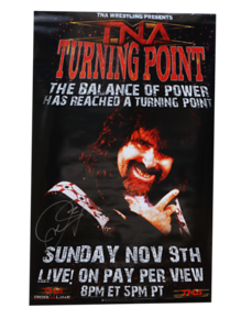 Mick Foley Autographed TNA Turning Point 2008 PPV Poster