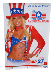 Torrie Wilson Autographed WWE The Great American Bash 2004 PPV Poster