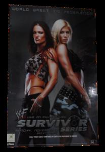 Lita & Torrie Wilson Autographed WWF Survivor Series 2001 PPV Poster