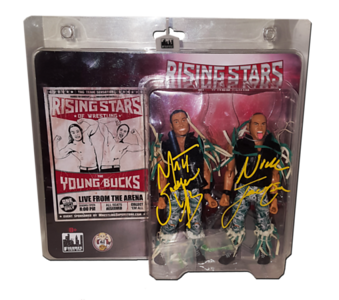 The Young Bucks (Nick & Matt Jackson) Autographed Figures Toy Company Rising Stars Of Wrestling 2-Pack Figures
