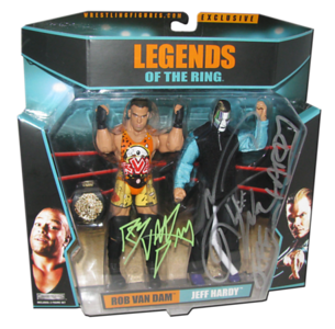 """Rob Van Dam & Jeff Hardy Autographed """"Five Star Rivalry"""" Ringside Exclusive 2-Pack Figure"""