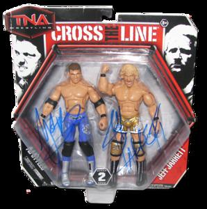 AJ Styles & Jeff Jarrett Autographed JAKKS Pacific Series 2 TNA CROSS THE LINE 2 Pack Figures