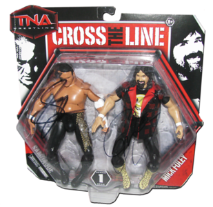Samoa Joe & Mick Foley Autographed JAKKS Pacific Series 1 TNA CROSS THE LINE 2 Pack Figures