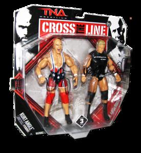 Kurt Angle & Mr. Anderson Autographed JAKKS Pacific Series 3 TNA CROSS THE LINE 2 Pack Figures