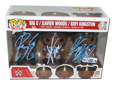 The New Day (Big E,Xavier Woods & Kofi Kingston) Autographed (Toys R Us Exclusive) WWE POP! Funko Vinyl Figure 3-Pack