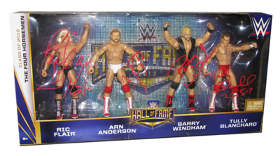 Ric Flair, Arn Anderson, Barry Windham & Tully Blanchard Autographed WWE Mattel Hall Of Fame Four Horsemen Exclusive Figure 4-Pack