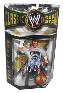 Terry Funk Autographed JAKKS Pacific WWE Classic Superstars Toy Fair 2005 Exclusive 1 Of 100 Figure