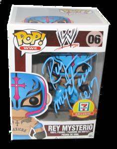 Rey Mysterio Autographed WWE POP! Funko 7-11 Exclusive Vinyl Figure