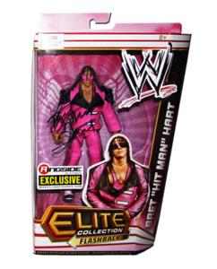 """Bret """"Hitman"""" Hart Autographed Mattel WWE Pink & Black Attack ELITE COLLECTION FLASHBACK """"Ringside Collectibles"""" Exclusive Figure"""