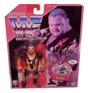 Bam Bam Bigelow Autographed WWF Hasbro (Red Card) Series 8 Figure