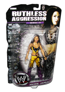 Mickie James Autographed JAKKS Pacific WWE RUTHLESS AGGRESSION Series 34 Figure