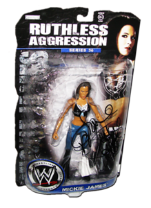 Mickie James Autographed JAKKS Pacific WWE RUTHLESS AGGRESSION Series 36 Figure