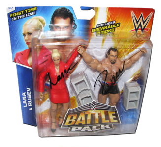 Lana & Rusev Autographed WWE Mattel Battle Pack Series 34 Figures