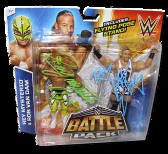 Rey Mysterio & Rob Van Dam Autographed WWE Mattel Battle Pack Series 33 Figures