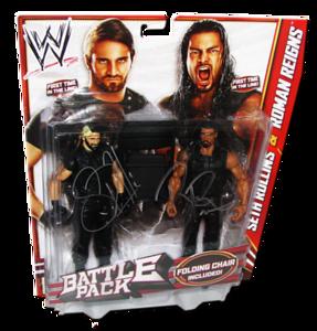 The Shield (Seth Rollins & Roman Reigns) Autographed WWE Mattel Battle Pack Series 24 Figures