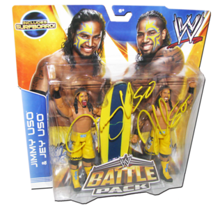 The Usos (Jimmy & Jey) Autographed WWE Mattel Battle Pack Series 28 Figures