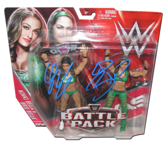 The Bella Twins (Brie & Nikki) Autographed WWE Mattel Battle Pack Series 38 Figures