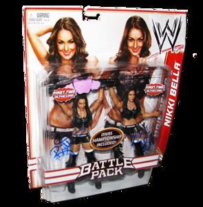 Bella Twins (Brie & Nikki Bella) Autographed WWE Mattel Battle Pack Series 15 Figures