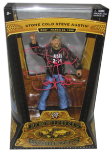 Stone Cold Steve Austin Autographed WWE Defining Moments Series 4 Figure